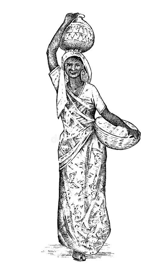 Femme indoue travaillant dans l'Inde Madame portant un bassin sur sa tête tiré par la main gravé, style de vintage Différences in illustration stock