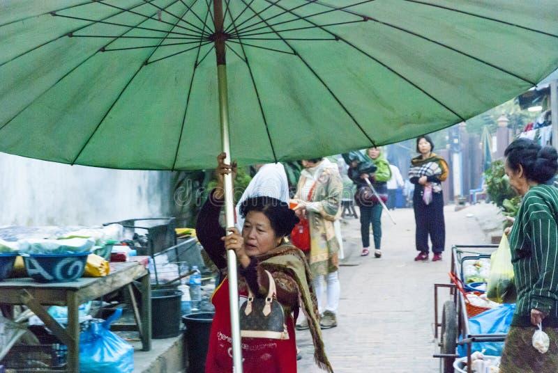 Femme installant un parapluie image stock