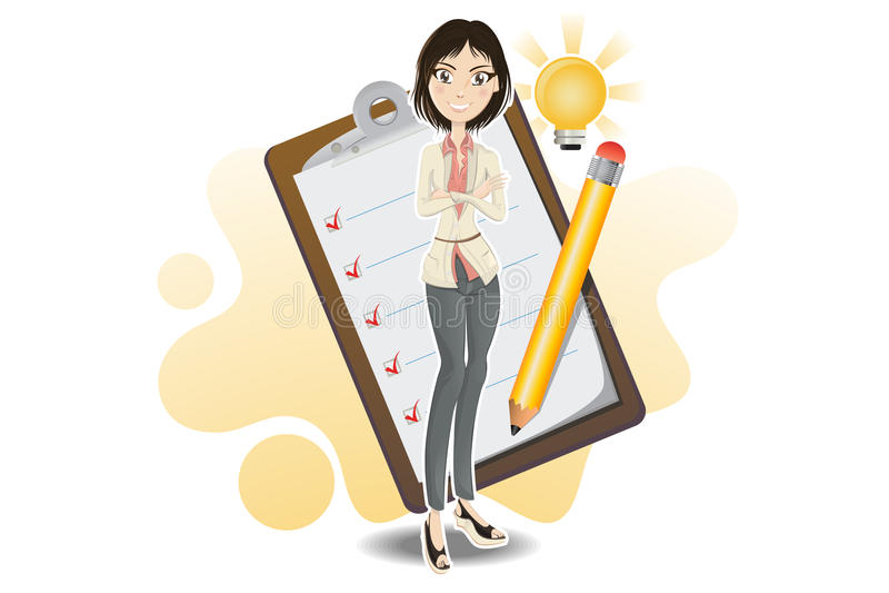 Femme intelligente d'affaires faite avec sa liste de contrôle illustration de vecteur