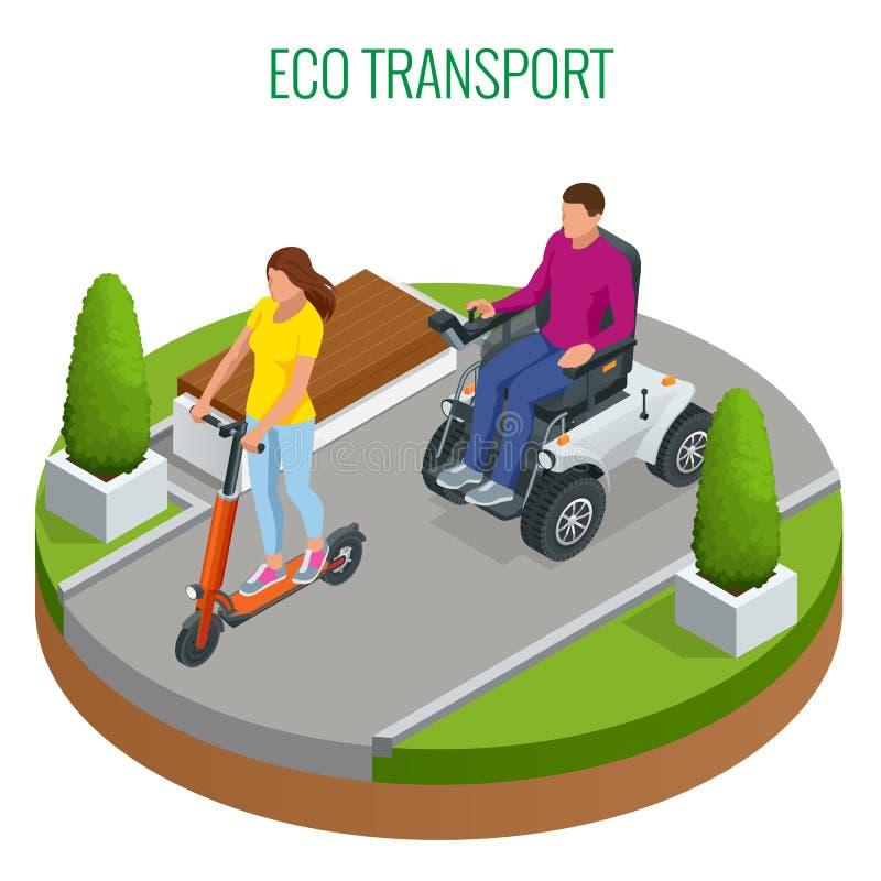 Femme isométrique sur un scooter et un homme électriques sur un fauteuil roulant électrique Nouveau grand fauteuil roulant ?lectr illustration de vecteur