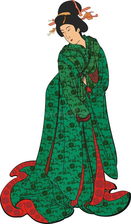 Femme japonaise dans un kimono vert photographie stock