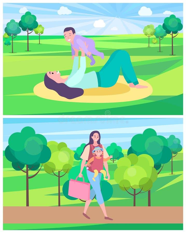 Femme jouant avec l'enfant s'étendant sur le tapis dans la pelouse de parc illustration libre de droits