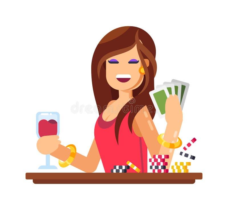 Femme jouant dans le jeu, jeux de carte Casino, tisonnier, chiffre d'affaires d'argent illustration libre de droits