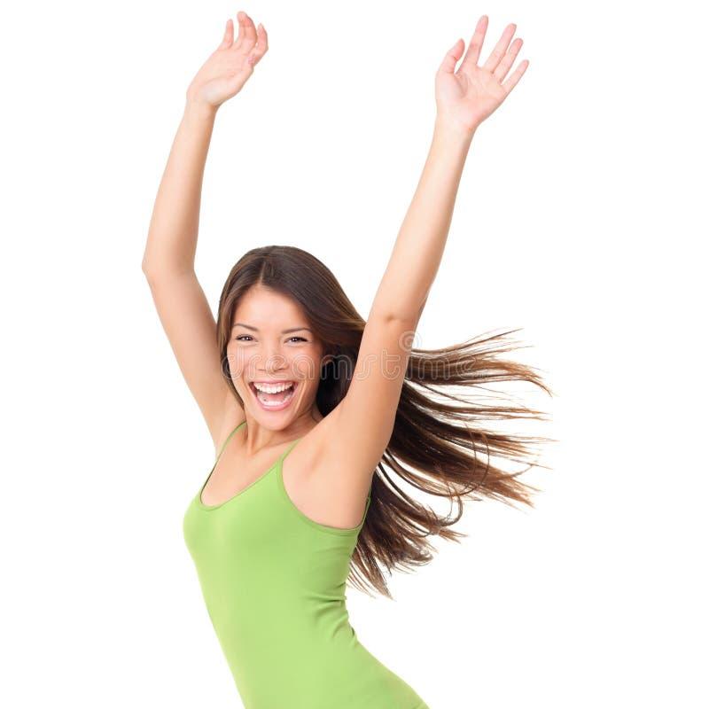 Femme joyeuse insousiante d'isolement image stock