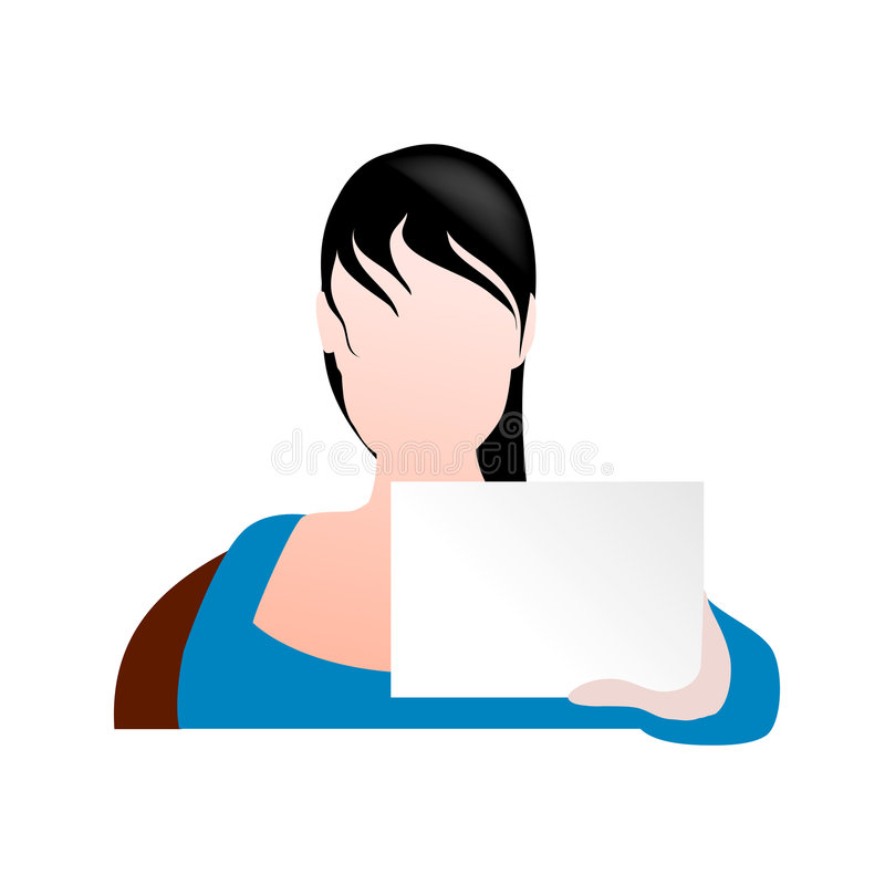Femme jugeant un signe dirigé illustration stock