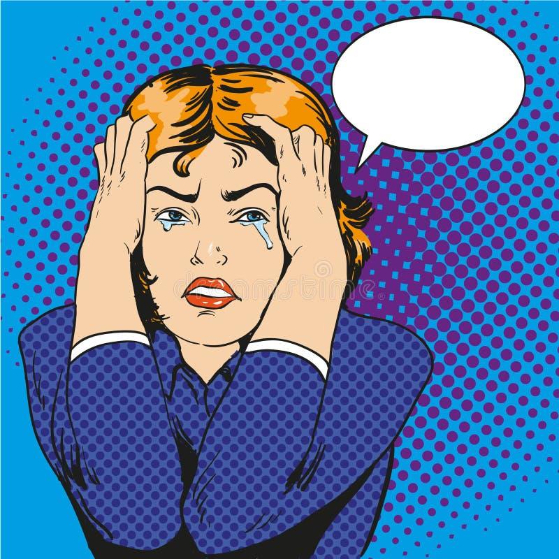 Femme l'effort et en pleurant Dirigez l'illustration dans le rétro style comique d'art de bruit illustration de vecteur