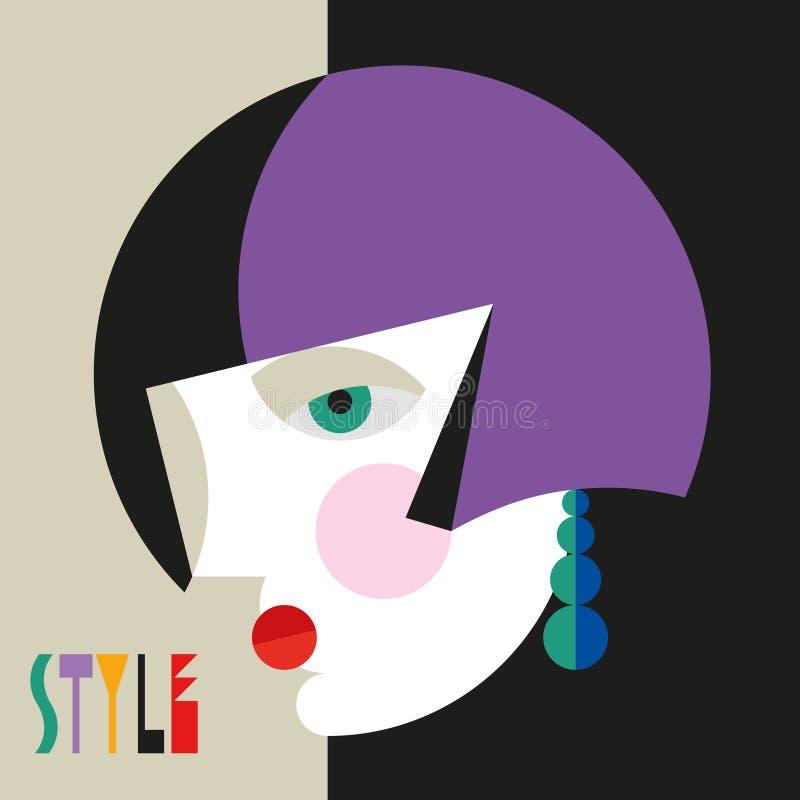 Femme ?l?gante ? la mode Tête moderniste de femme de style avec la coiffe élégante Art de style de modernisme illustration libre de droits