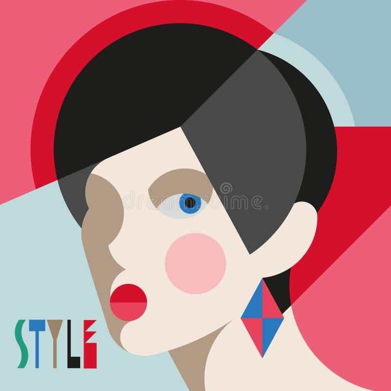 Femme ?l?gante ? la mode T?te moderniste de femme de style avec la coiffe ?l?gante Art de style de modernisme illustration de vecteur