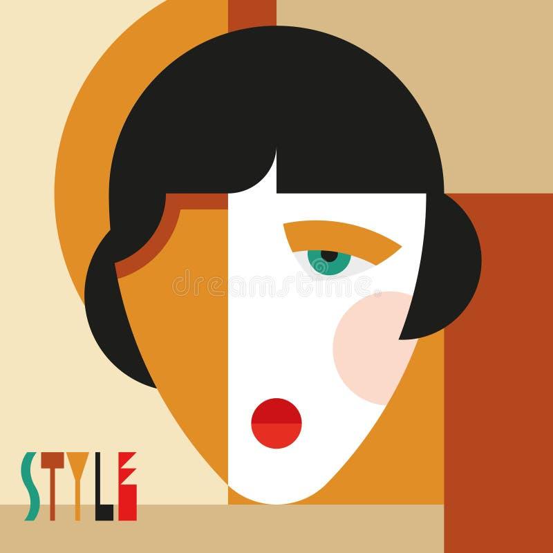 Femme ?l?gante ? la mode T?te moderniste de femme de style avec la coiffe ?l?gante Art de style de modernisme illustration libre de droits