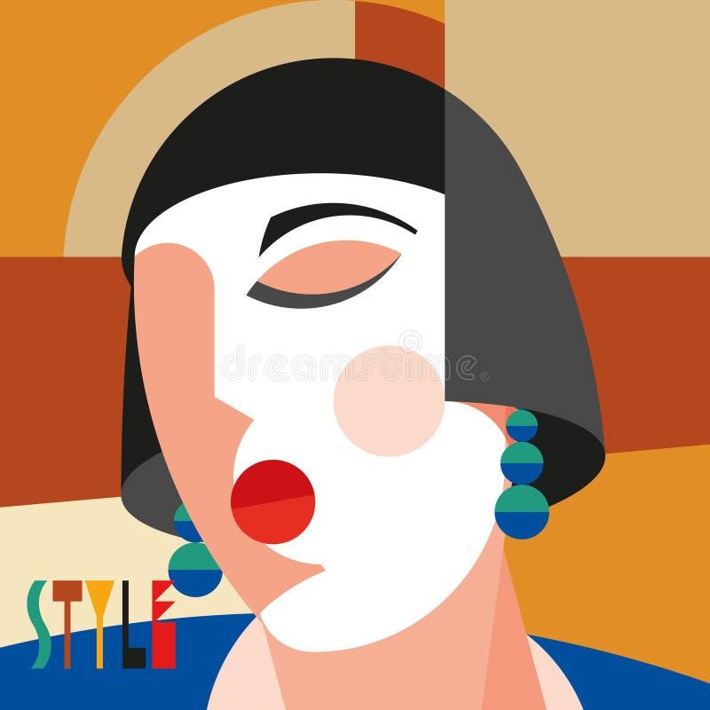 Femme ?l?gante ? la mode T?te moderniste de femme de style avec la coiffe ?l?gante Art de style de modernisme illustration stock