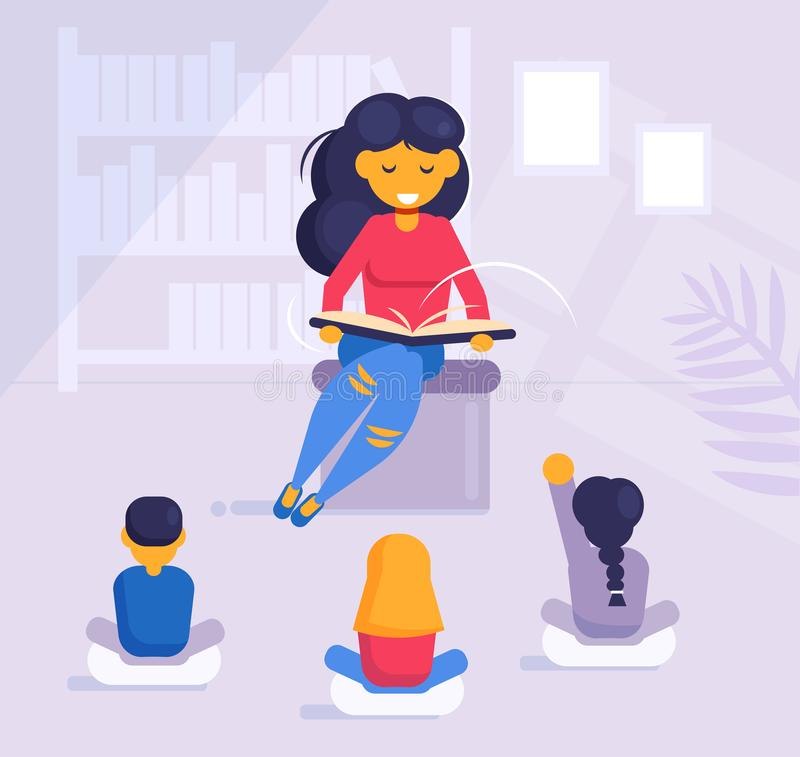 Femme lisant un livre aux enfants dans le jardin d'enfants ou dans le vecteur de bibliothèque cartoon Appartement d'isolement d'a illustration de vecteur