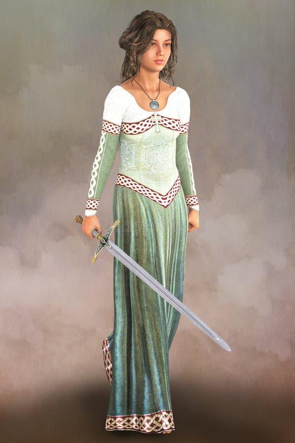Femme médiévale avec une épée illustration libre de droits
