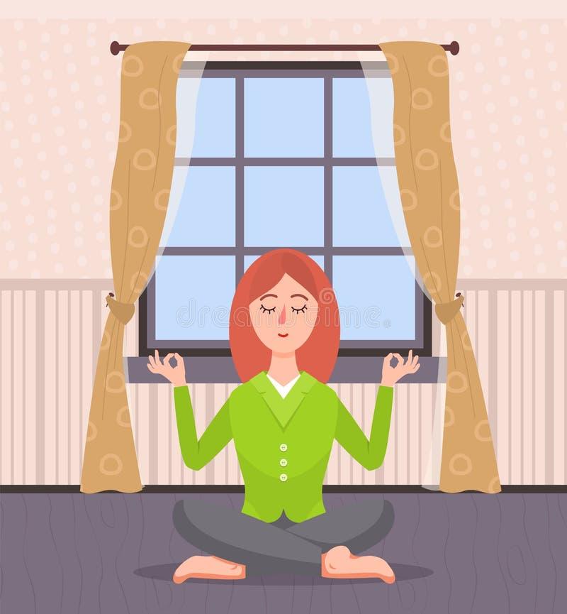 Femme méditant à la maison, yoga de Madame dans la chambre illustration stock