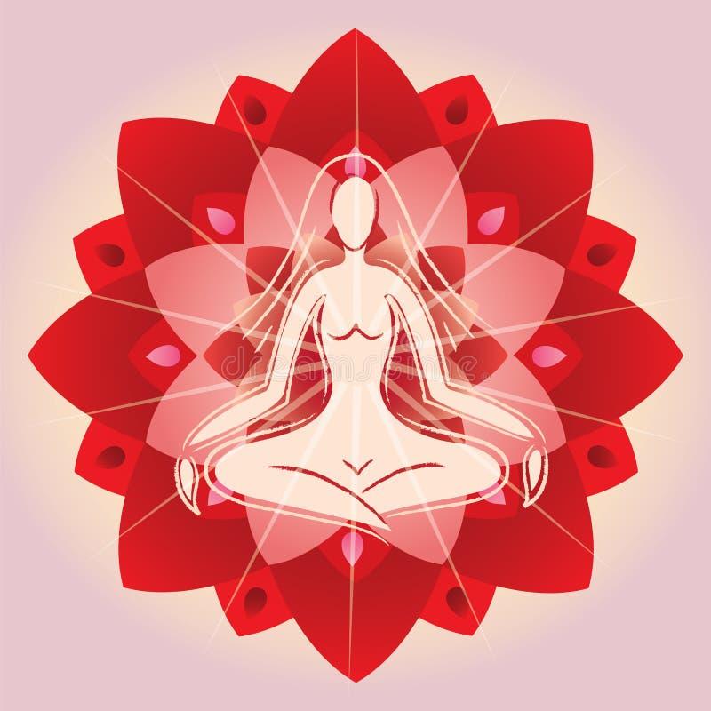 Femme méditant sur le fond de fleur de lotus illustration stock