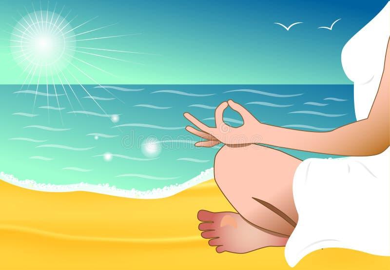 Femme méditante sur la plage illustration de vecteur