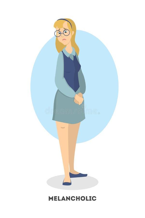 Femme mélancolique d'isolement illustration de vecteur