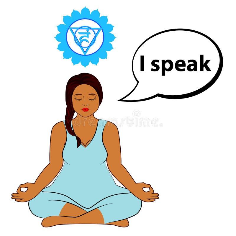 Femme m?ditant Je parle - l'affirmation pour le chakra Vishuddha illustration stock