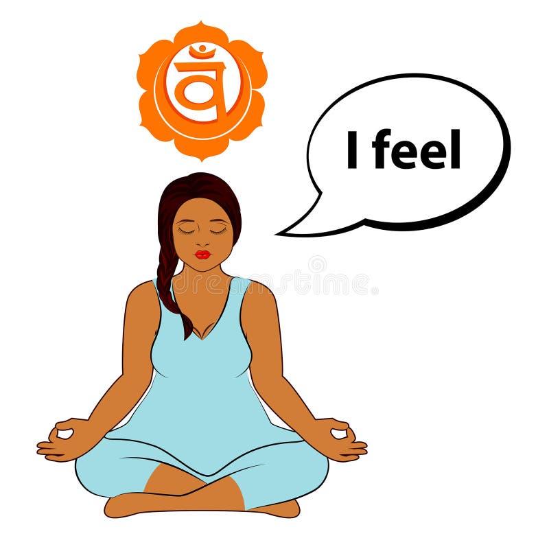 Femme m?ditant Je sens - l'affirmation pour le chakra Swadhisthana illustration stock