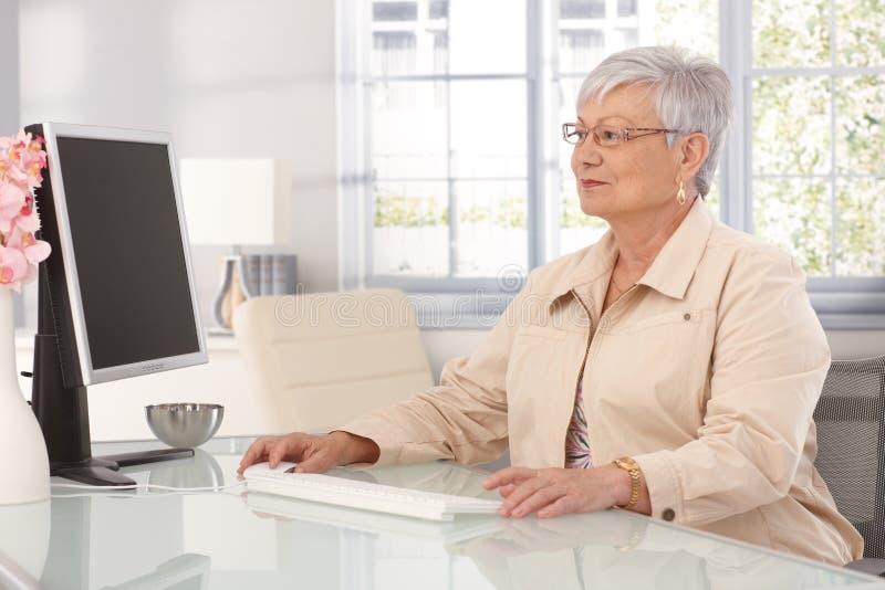 Femme mûre à l'aide de l'ordinateur photos stock
