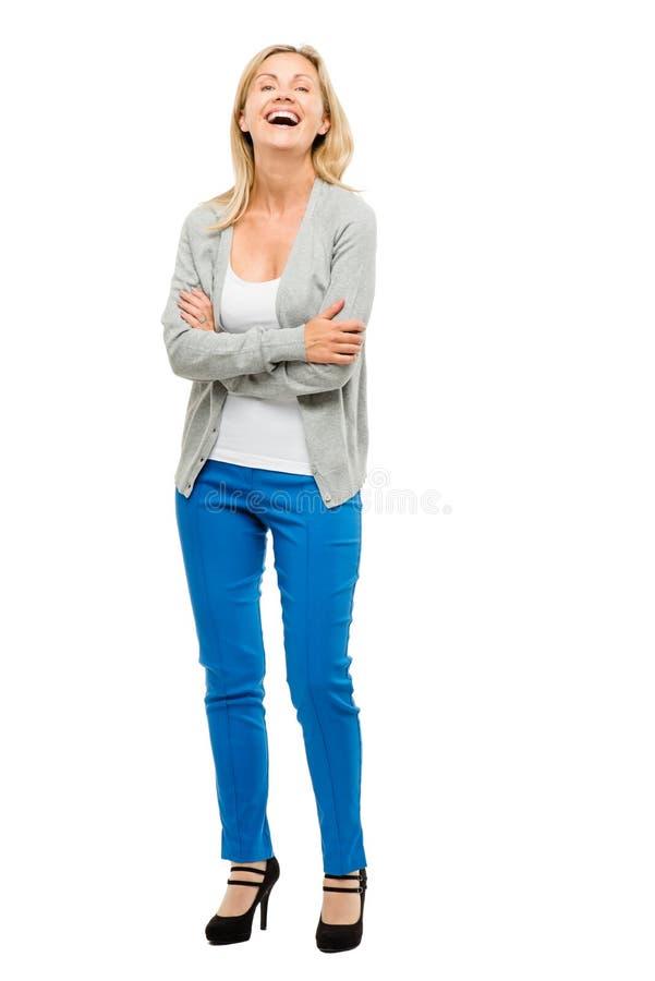 Femme mûre avec vrai heureux de corps d'isolement sur le fond blanc photos stock