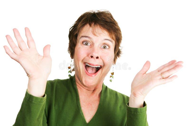 Femme mûre - enthousiaste photos stock