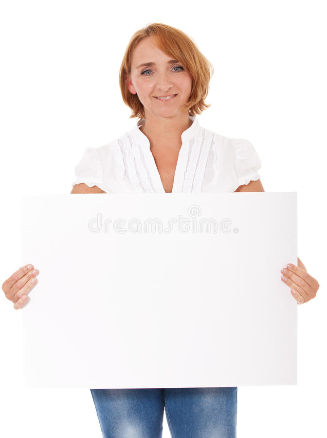 Femme mûre tenant le signe vide photo libre de droits