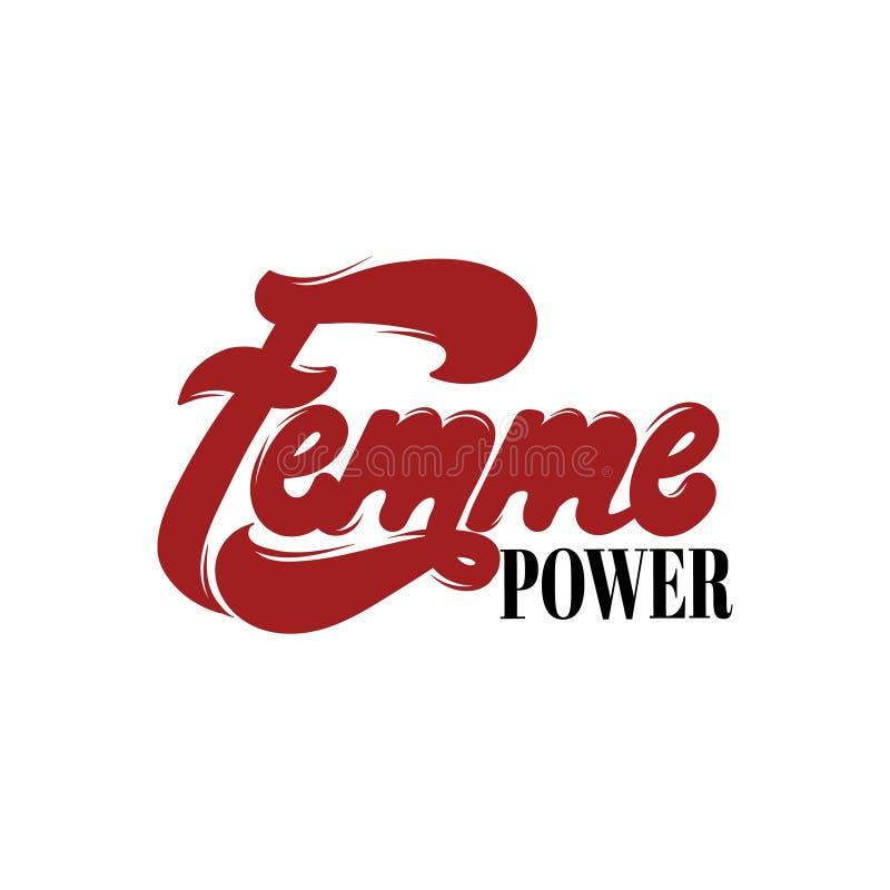 Femme makt Handskriven bokstäver för vektor som göras i modern stil vektor illustrationer