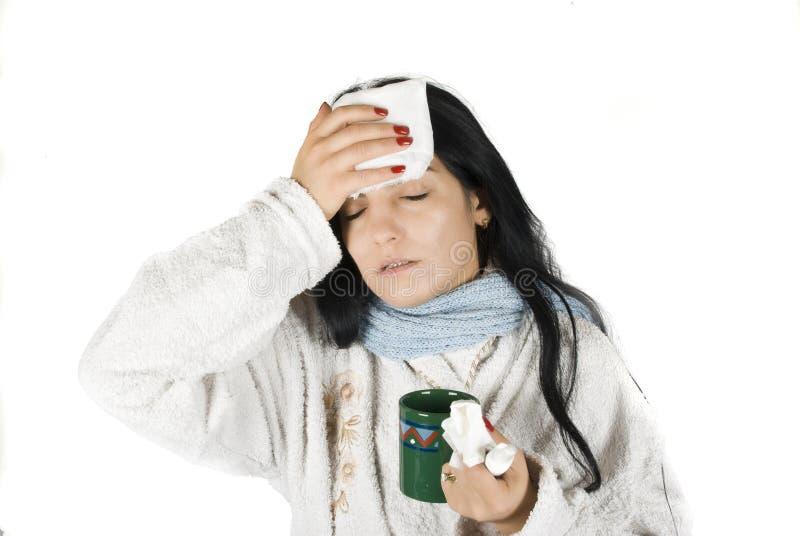 Femme malade image stock