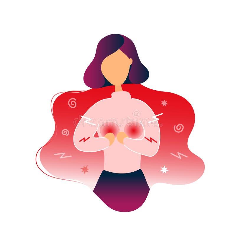 Femme malade avec douleur de sein illustration libre de droits