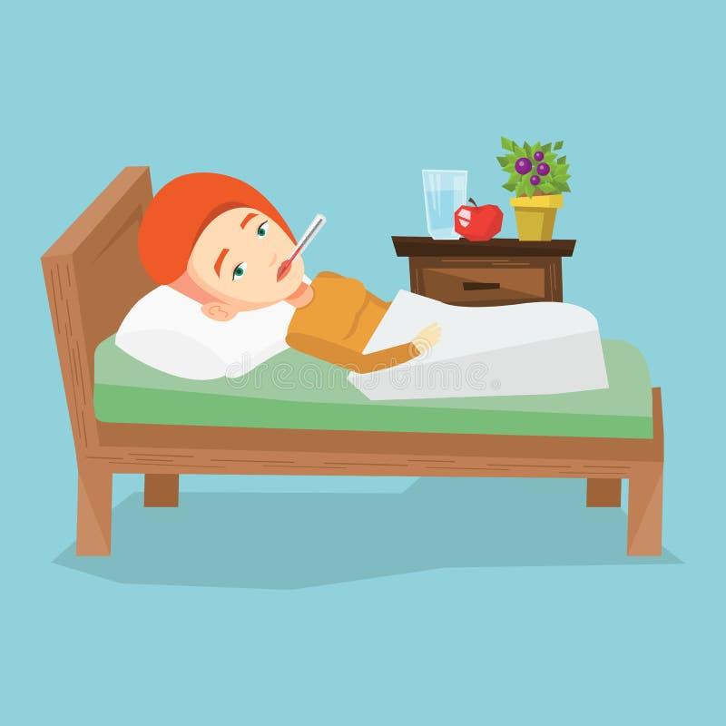 Femme malade avec le thermomètre s'étendant dans le lit illustration de vecteur