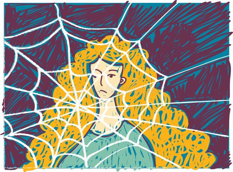 Femme malheureuse assez jeune dans des griffonnages de dépression illustration stock