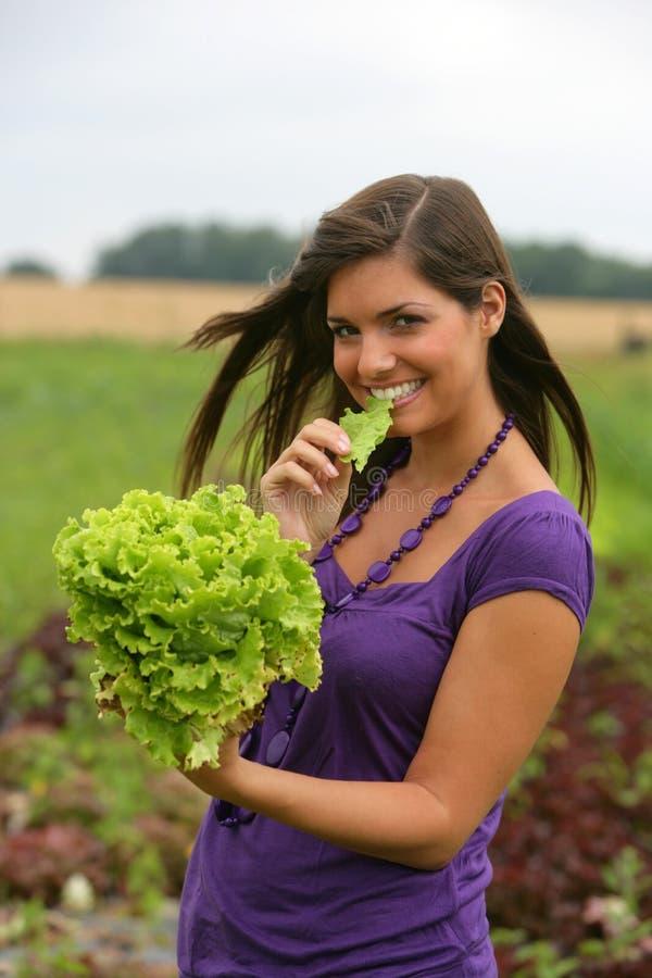 Femme mangeant d'une salade photographie stock libre de droits