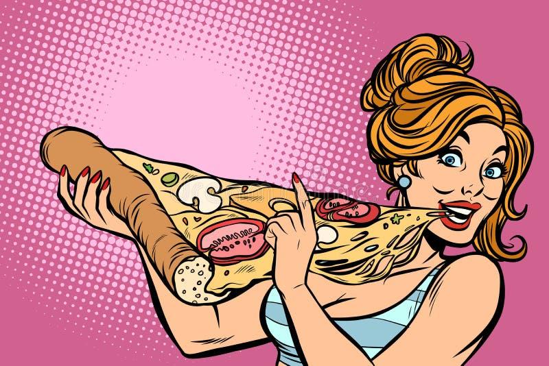 Femme mangeant de la pizza illustration de vecteur