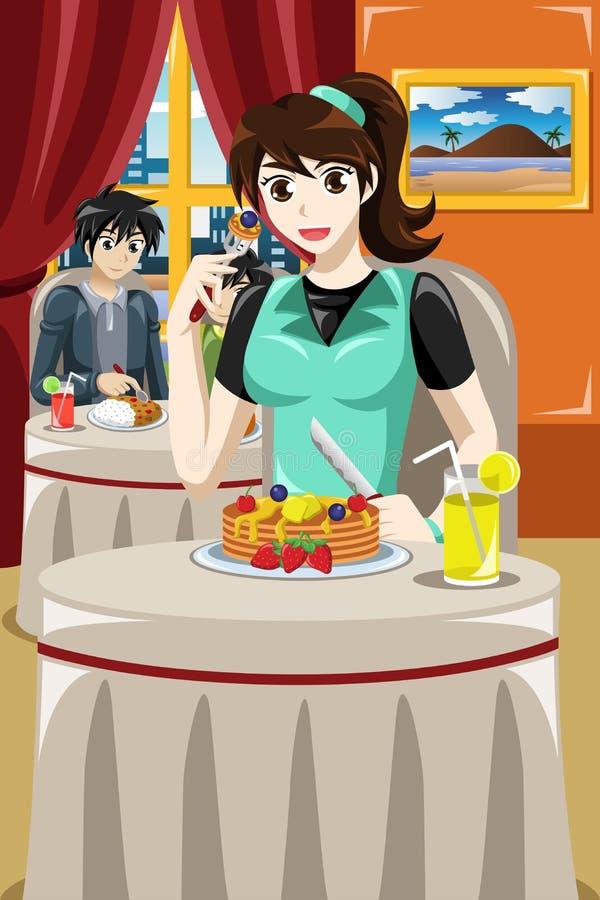 Femme mangeant des crêpes de fruit illustration stock