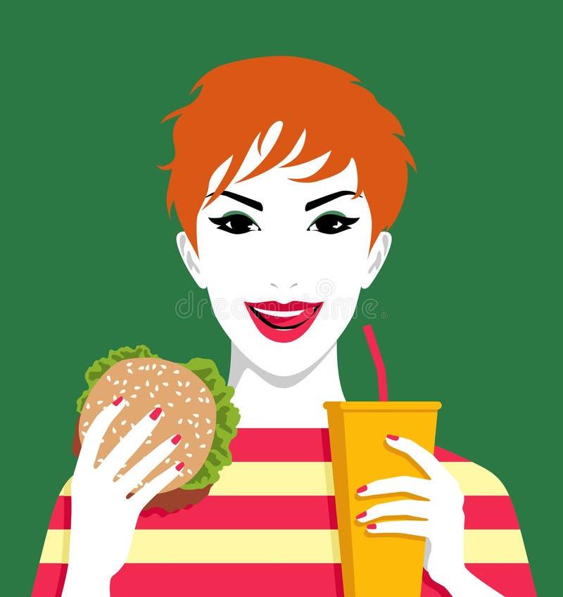 Femme mangeant l'hamburger et buvant de la limonade illustration stock