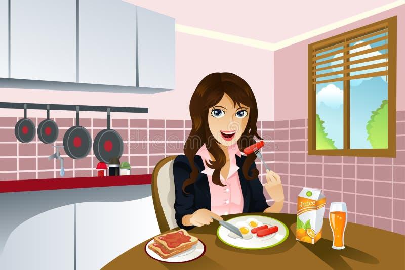 Femme mangeant le déjeuner illustration libre de droits