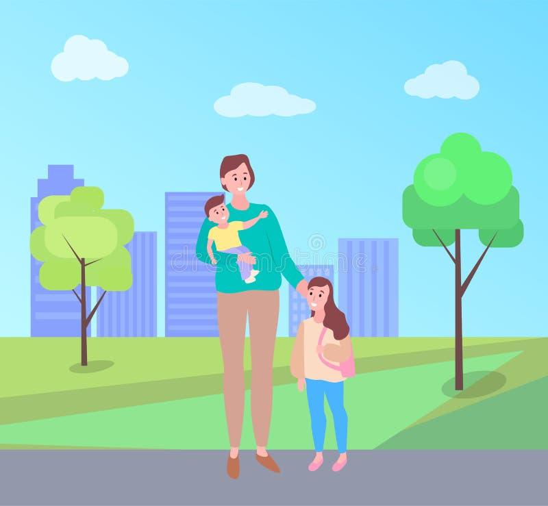 Femme marchant avec le bébé de transport de fille en parc illustration stock