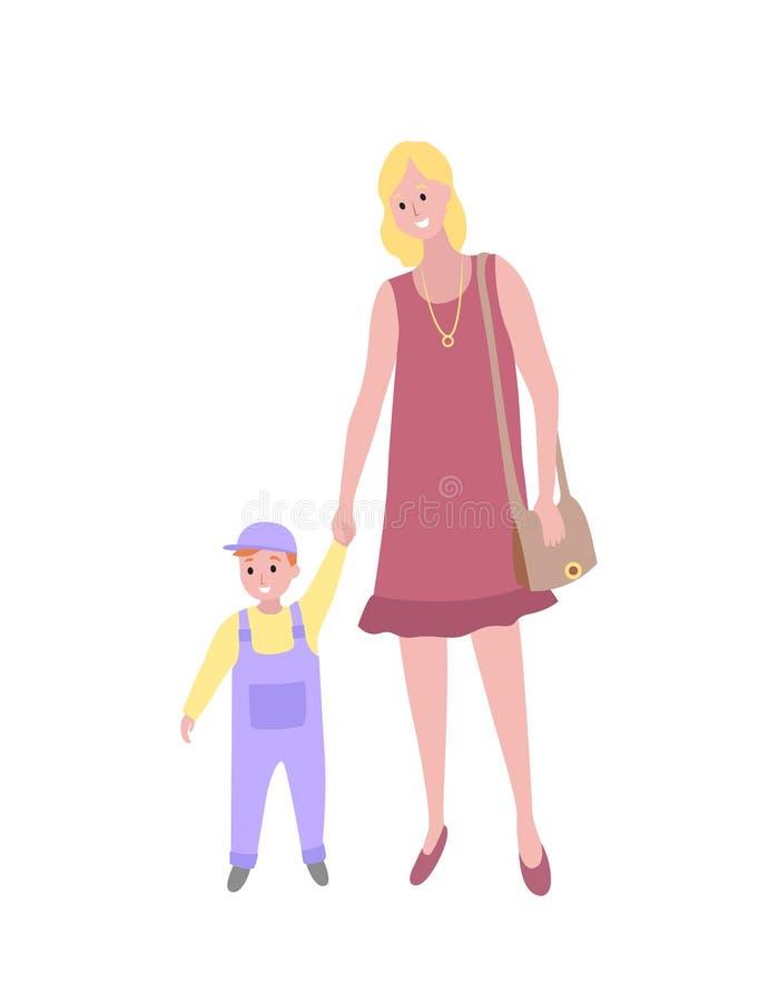 Femme marchant avec le fils de bébé, l'enfant d'enfant en bas âge et la maman illustration de vecteur