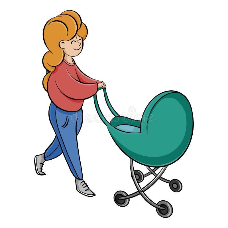 Femme marchant avec un b?b? dans une poussette Jeune m?re avec un enfant illustration stock