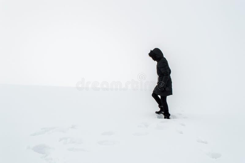 Femme marchant dans un domaine neigeux photo stock