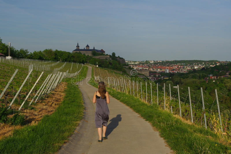 Femme marchant sur une route avec la vue de paysage de vignoble au château Marienberg en Bavière de Wurtzbourg, Allemagne photo libre de droits