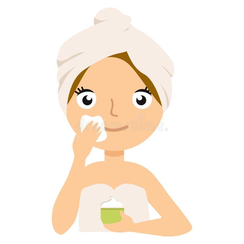 Femme mettant sur la crème sur son visage, d'isolement sur le blanc La poursuite de la beauté illustration de vecteur