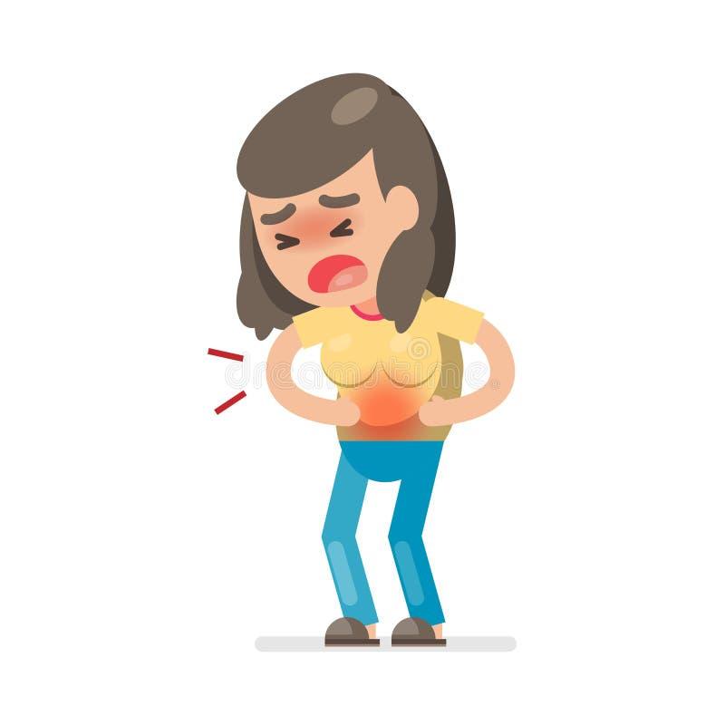 Femme mignonne ayant le mal d'estomac et souffrant de la douleur abdominale, illustration de caractère de vecteur illustration stock