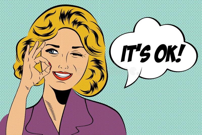 Femme mignonne d'art de bruit rétro dans le style de bandes dessinées avec le message photographie stock