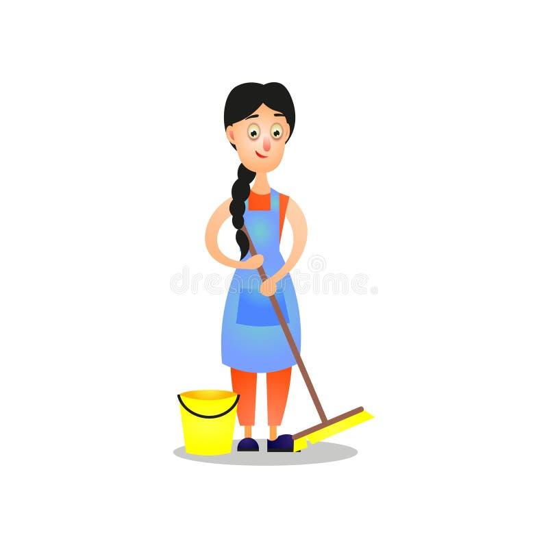 Femme mignonne dans le tablier bleu, nettoyant à la maison utilisant le balai illustration libre de droits