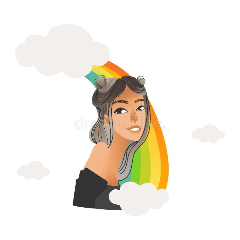 Femme mignonne de vecteur heureuse avec l'arc-en-ciel au-dessus de la tête illustration stock