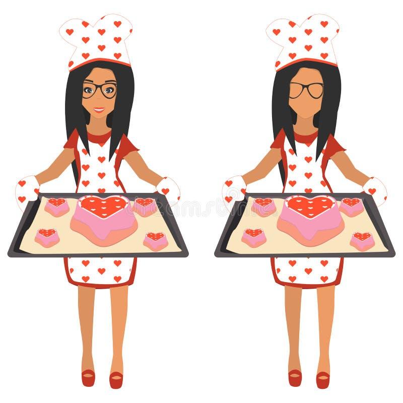 Femme mignonne tenant le plateau de cuisson avec le grand coeur de gâteau et les petits coeurs de gâteaux Illustration de vecteur illustration libre de droits