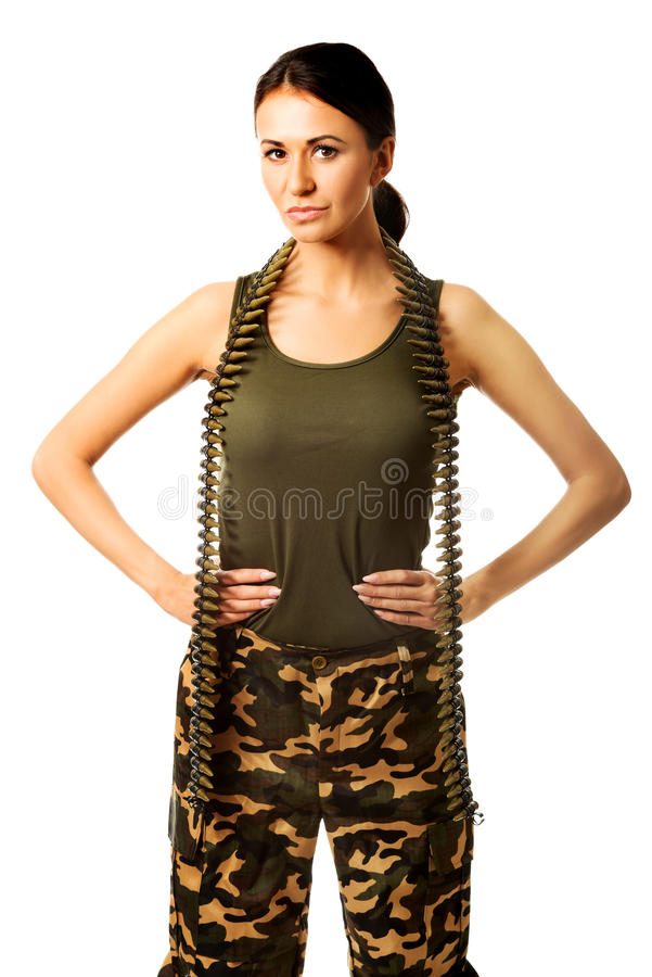 Femme militaire avec des mains sur des hanches photo libre de droits