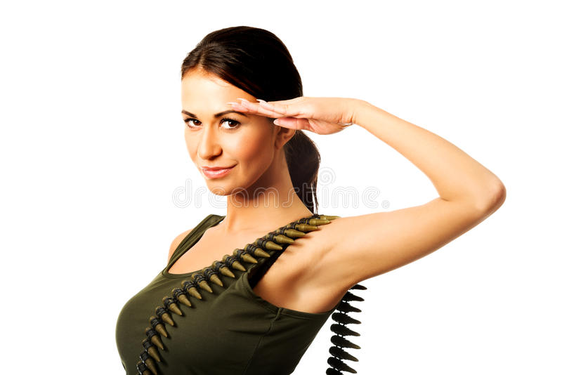 Femme militaire faisant le geste de salut photos libres de droits