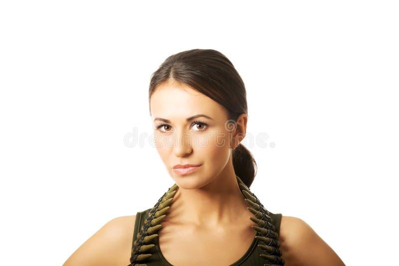 Femme militaire sérieuse photographie stock libre de droits